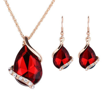 Red Crystal Water Drop Jewelry Necklace and Earrings