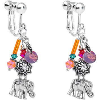 Handcrafted Elephant Clip On Earrings Created with Swarovski Crystals