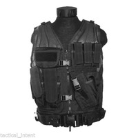 USMC Black Tactical Combat Vest with Belt