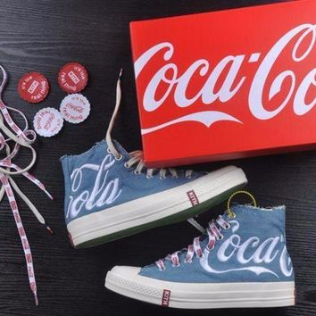 CREYNW6 Best Onlie Sale KITH x Coca Cola x Converse Chuck Taylor All Star 1970s High 70 Sneakers Blue
