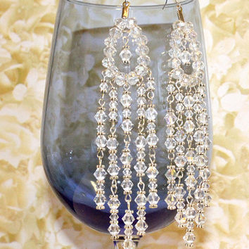 Long Crystal Earrings. Extra Long Clear Crystal Earrings with Silver Accents. Round Beads and Bi Cone Bead Dangles. Shoulder Dusters