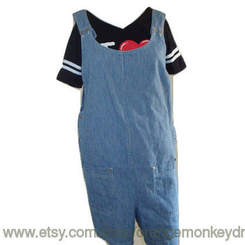 vintage railroad stripe denim jean overalls shortalls coveralls shorts size large xl hipster indie playsuit