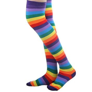1 Pair Colorful Rainbow Warmer Soft Knit Sock Women Girl Knee High Socks Funny Christmas Socks