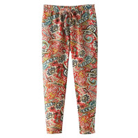 Paisley Print Elastic Waist Pants with Pocket