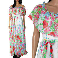 70s Bohemian Floral Maxi Dress Long Flowy Pleated Hippie Chic 90s Style Clothing Wedding Gown Womens Size Small XS