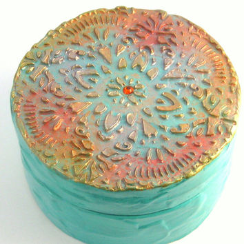 Boho Jewelry Box, Trinket Box, Recycled, Bohemian Decor, Home Decor, Jewelry Storage