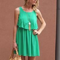 Cute Green Laser Cut Detail Dress - $75.00 | Hand In Pocket Boutique