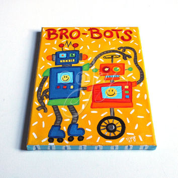 Bro-Bots #7 Robot Painting for Boys Room, Brothers and Twin Decor, art for kids