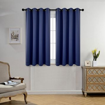 Room Darkening Thermal Insulated Blackout Grommet Window Curtain Panels Set w Tie Backs