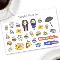 Gilmore Girls (inspired) planner stickers, netflix stickers, school planner stickers, tv show stickers, 27 stickers