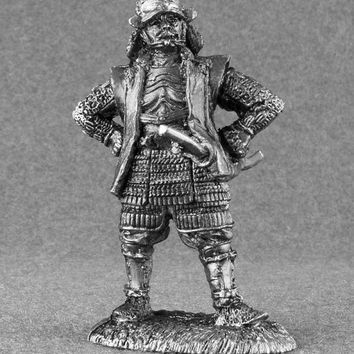 Japanese Samurai Action Figure - 1/32 Scale Toy Soldiers 54mm Sculpture Collection Tin Metal Miniature Action Figurine Statuette
