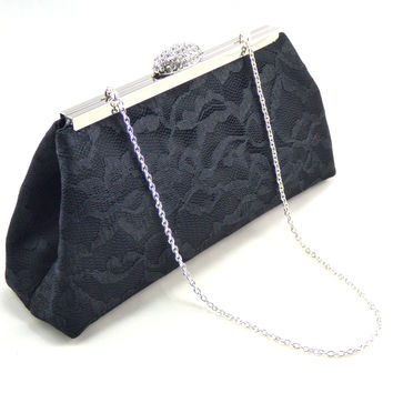 Black Satin and Lace Evening Clutch