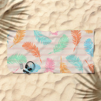 Dancing summer feathers Beach Towel by juliagrifoldesigns