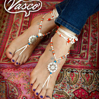 Boho Barefoot Sandals. Gypsy Bellydance Shoes. Foot Thong