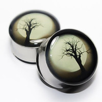 Spooky Tree Plugs, gauges  00g, 7/16, 1/2, 9/16, 5/8, 3/4, 7/8, 1 inch