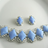 Coro Blue Swirled Diamond Bracelet Earring Set