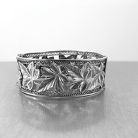 Art Nouveau Silver Bracelet. Repousse Cut Out Sterling Silver Leaves Bangle Bracelet. Art Nouveau Jewelry.
