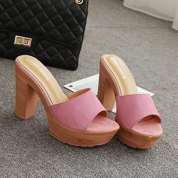 New Women Pink Round Toe Chunky Sweet High-Heeled Suede Slippers