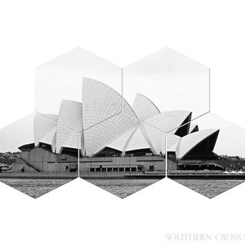 Hexagon art, modern geometric decor, travel Australia art Sydney Opera House black and white photograph grey office decor living room decor