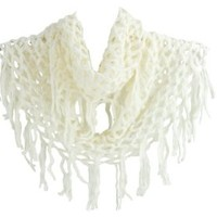 SF392-2 NY Deal Knit Solid Color Infinity Loop Scarf with Fringe, White