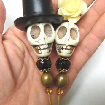 Day of the Dead Cake Topper Sugar Skull Caketopper Ivory Bride Groom Wedding Decor