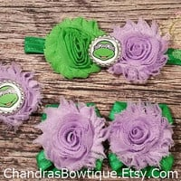 Purple Ninja Turtles Headband and Barefoot Sandals Set / Elastic Bracelet / Baby Headband / Baby Barefoot Sandals / TMNT / Donatello / Bows