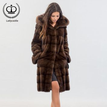 2018 New Long Real Mink Fur Coat With Hood Women Overcoat Winter Real Fur Jacket Genuine Mink Coat Fur Natural Luxury MKW-141