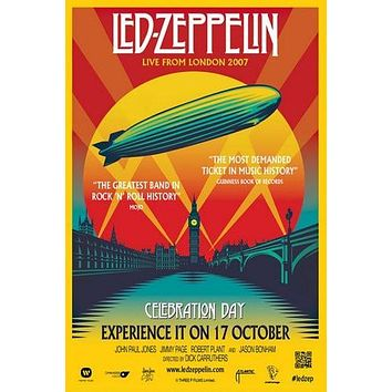 Led Zeppelin Live From London 2007 poster Metal Sign Wall Art 8in x 12in