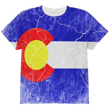 Colorado Vintage Distressed State Flag All Over Youth T Shirt