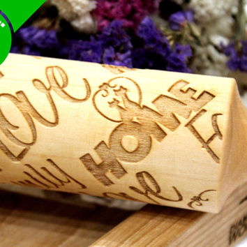 Engraved Rolling Pin, Embossing Rolling Pin, Christmas Gift, Embossed Dough Roller, Pattern, Laser, Love, Home, Family Rolling Pin
