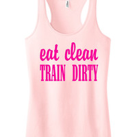 Eat clean train dirty Racerback Fitness Tank Workout Shirt Motivational Tank Top Crossfit Shirt Workout Tank Top Light Pink IPW00046