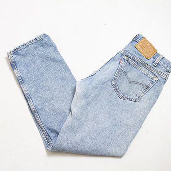 "Vintage Levi's 501 JEANS - Cotton Denim Straight Leg High Waist Boyfriend Jeans 1980s - 31"" x 29"""