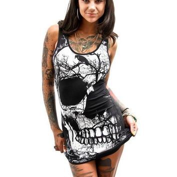 Skull Print Tank Style Mini Dress