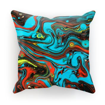 Teal and Orange Paint on Water Ripples Cushion