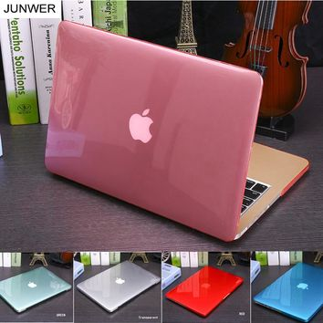 JUNWER Crystal\Matte Transparent Case For Apple Macbook Air Pro Retina 11 12 13 15 For Macbook Air 13 Laptop Case Cover