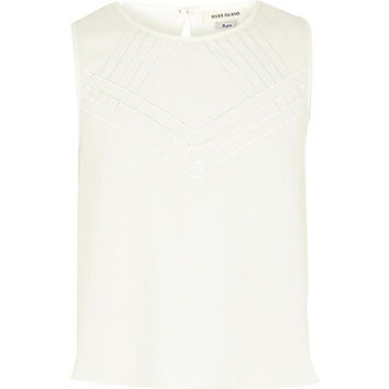 River Island Girls cream embroidered front sleeveless tank