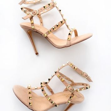 Rhiannon Camel Studded Caged Heel