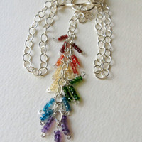 Gemstone Necklace, Rainbow Colors and Sterling Silver, Statteam