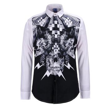 Men's casual long sleeve shirt skull print slim Fit size S-XL