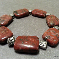 Red Jasper Bracelet with Pewter Bead Spacers - Semi Precious Beaded Stretch Bracelet - Boho Bracelet - Rectangle Jasper Stone Bracelet