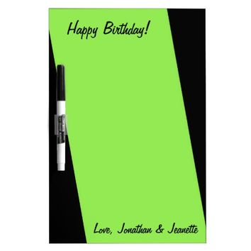 Dry Erase Board, Personalized, Stripe Neon Green Dry-Erase Board