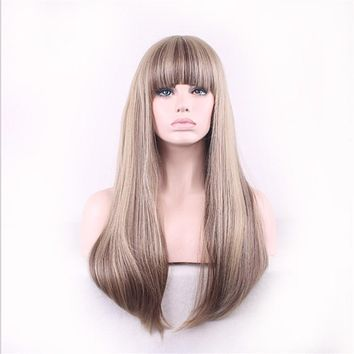 Women's Long Straight Synthetic Wigs With Bangs Heat Resistant Blonde Mix Color