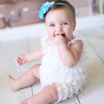 2pc White Petti Romper Set...Baby Girls Baby Blue Flower Headband Set..Girls Hair Bows..Newborn Headband...Pageant Wear...Cake Smash