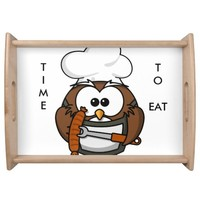 The owl Chef wooden serving tray