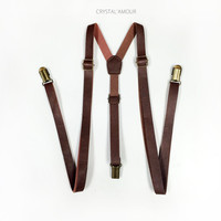 Brown Leather Suspenders, brown suspenders, suspenders, Men's Suspenders, skinny suspenders, Mens suspenders, Barnyard Wedding, Groomsmen