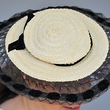 Fine  Fashion 1950s Straw Hat with Black Velvet Ribbon Lace/ 1950s Accessories