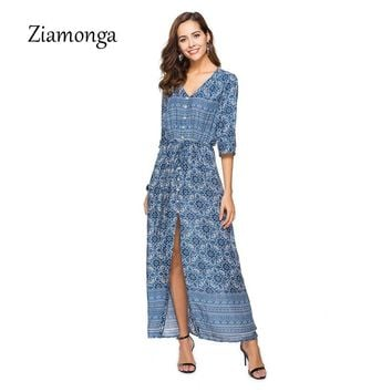 Ziamonga 2018 Vestido Long Flower Dress Retro Bohemian Maxi Dress Sexy Ethnic V-Neck Floral Print Beach Dresses Boho Hippie Robe