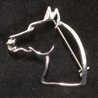Horse Head Outline Brooch Pin Equestrian Jewelry Silver Tone Wire Profile 618m