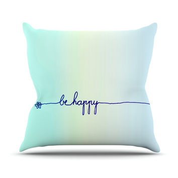 "Monika Strigel ""Be Happy Aqua"" Simple Blue Outdoor Throw Pillow"