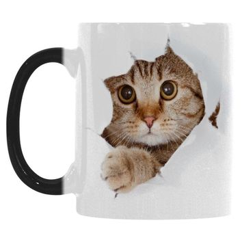 Cat Breaking Out of Coffee Mug